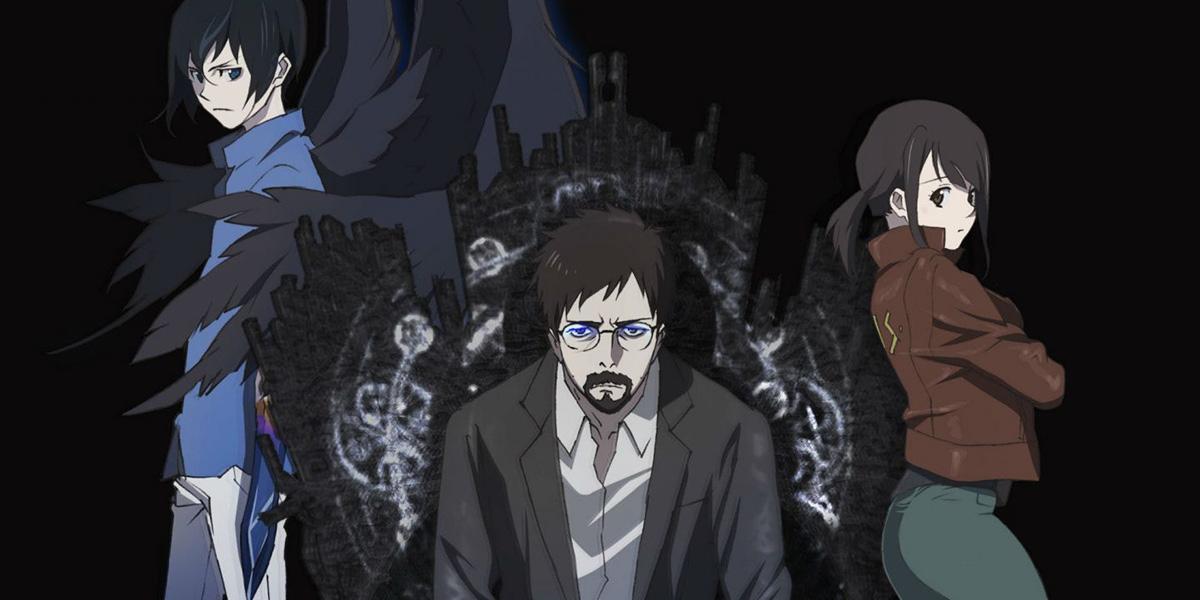 Drei Charaktere auf schwarzem Hintergrund