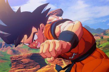 Son-Goku im Close-Up, während er auf Jindujun fliegt.