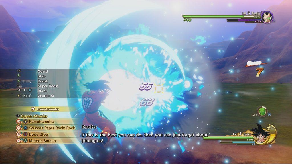 Son-Goku feuert eine Kame-Hame-Ha auf seinen Gegner Radditz