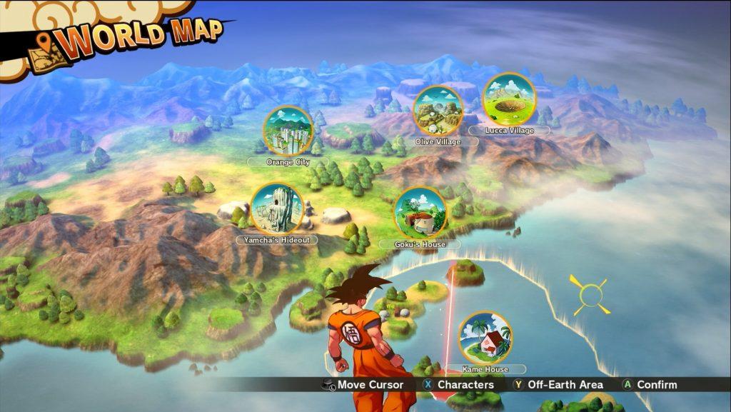 Die Weltkarte von Dragon Ball Z: Kakarot, auf dem man auswählen kann, in welchen Bereich man fliegen will.