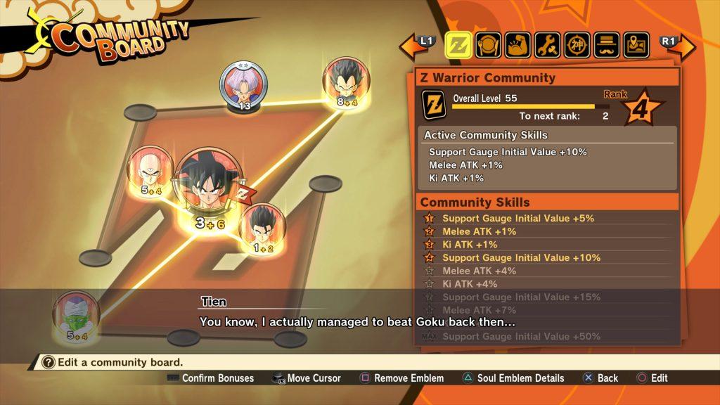 Das Community-Board von Dragon Ball Z: Kakarot, wo man Seelenembleme in Verbindung setzen kann um so stärker zu werden.