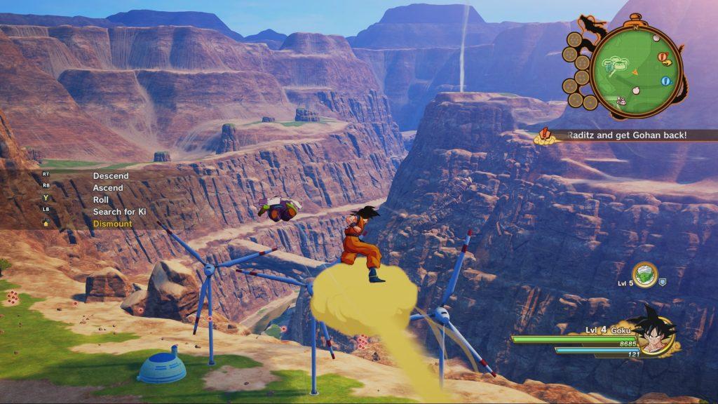 Son-Goku fliegt auf Jindujun, seiner Überschallwolke