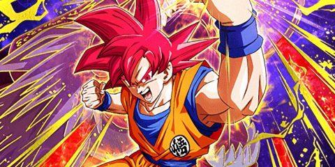 Son-Goku schlägt in seiner Super-Sayajin Gott-Form in die Luft und schaut dabei wütend in die Kamera
