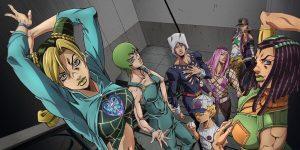 Das Key-Visual zu «JoJo's Bizarre Adventure: Stone Ocean»: Es Zeigt die Hauptcharaktere des Anime, welches auf Netflix erscheinen wird.